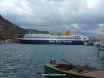Ferry blocks the harbour at Meis