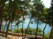 Parga bay from the castle cafe terrace thru the trees